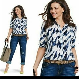 Cabi 3096 Moody Blues Button Up Top